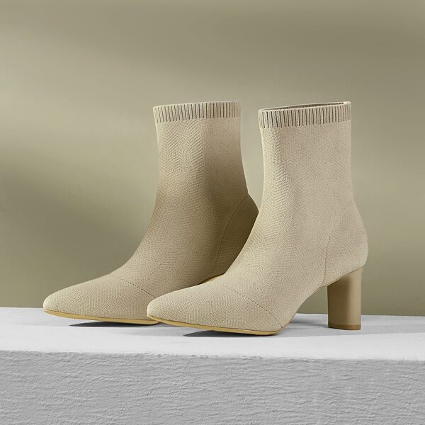 Minimalist Stiletto Heeled Stretch Boots, Apricot