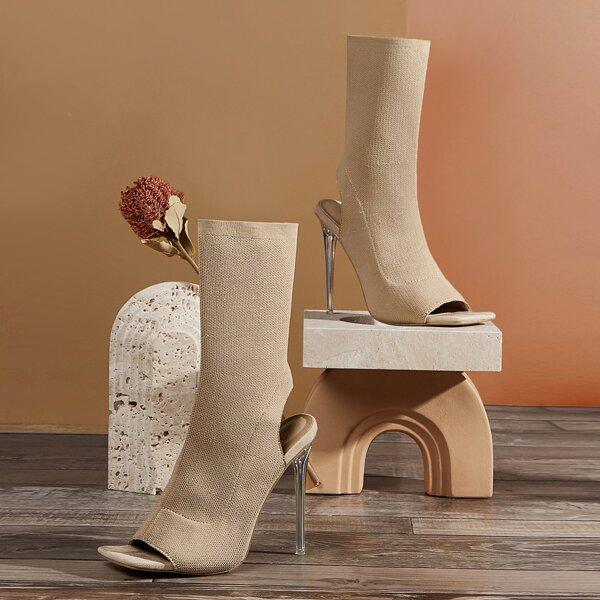 Minimalist Stiletto Heeled Knit Sandals Boots, Apricot