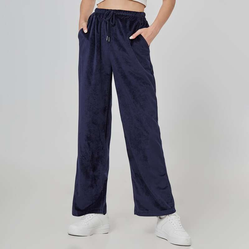 Wide Leg Velvet Pants, Navy blue