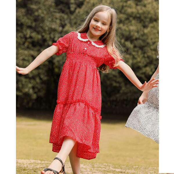 Girls Dalmatian Print Peter-pan Collar Shirred Frill Trim Chiffon Dress, Red