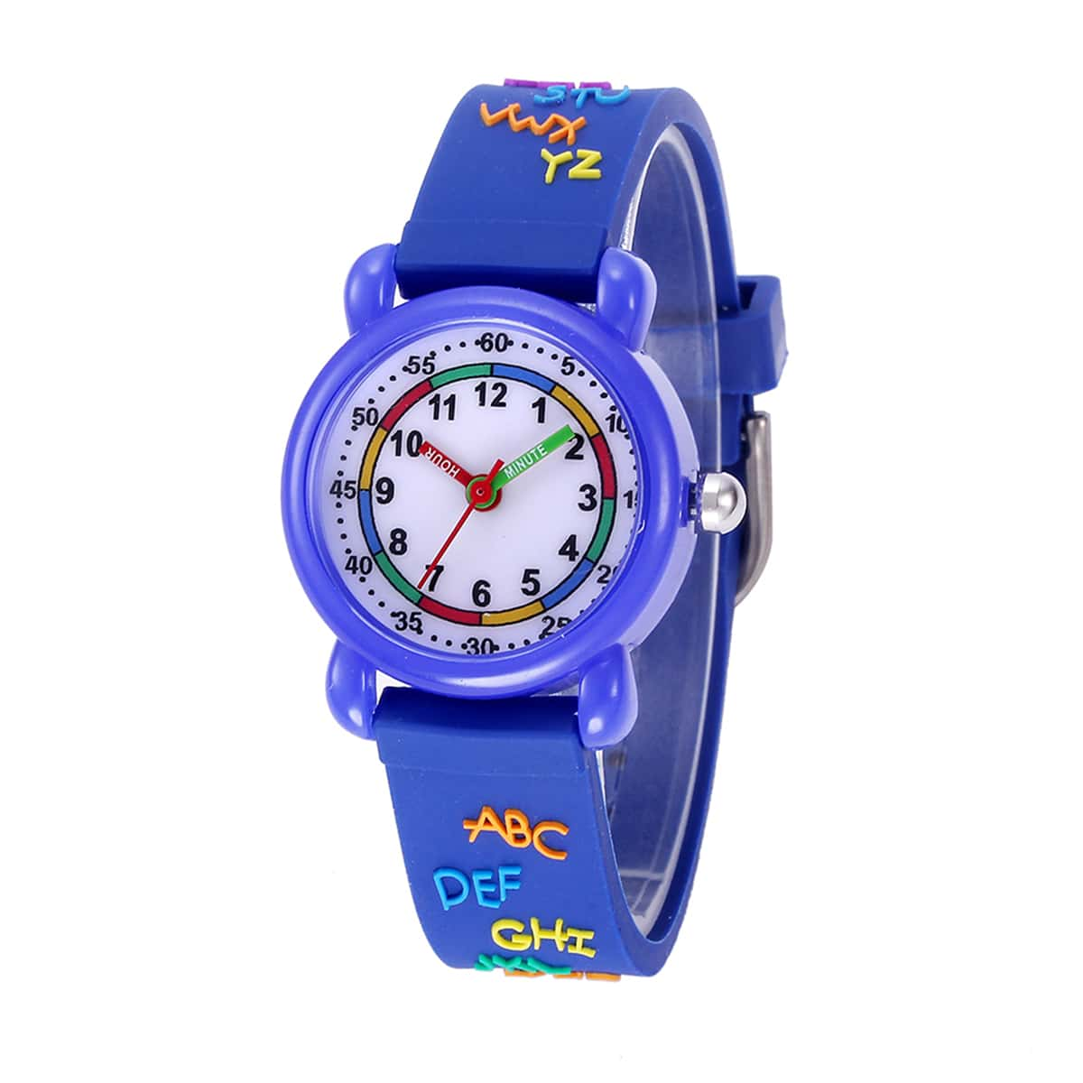 Детские круглые кварцевые часы со стрелками и текстовыи принтом