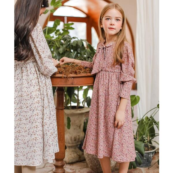Girls 1pc Tie Neck Ditsy Floral Print Chiffon Smock Dress, Dusty pink