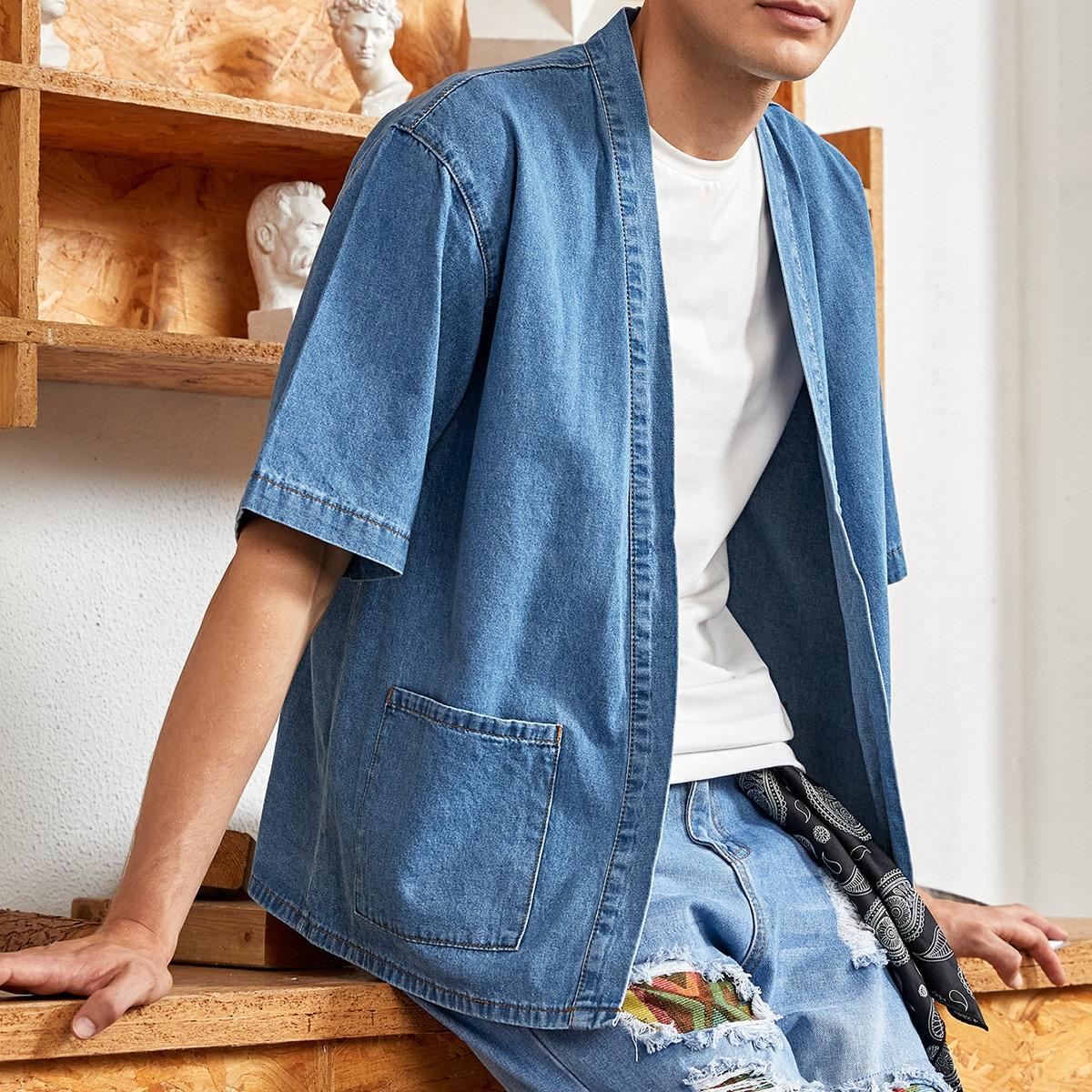 Мужской Джинсовая рубашка с карманом