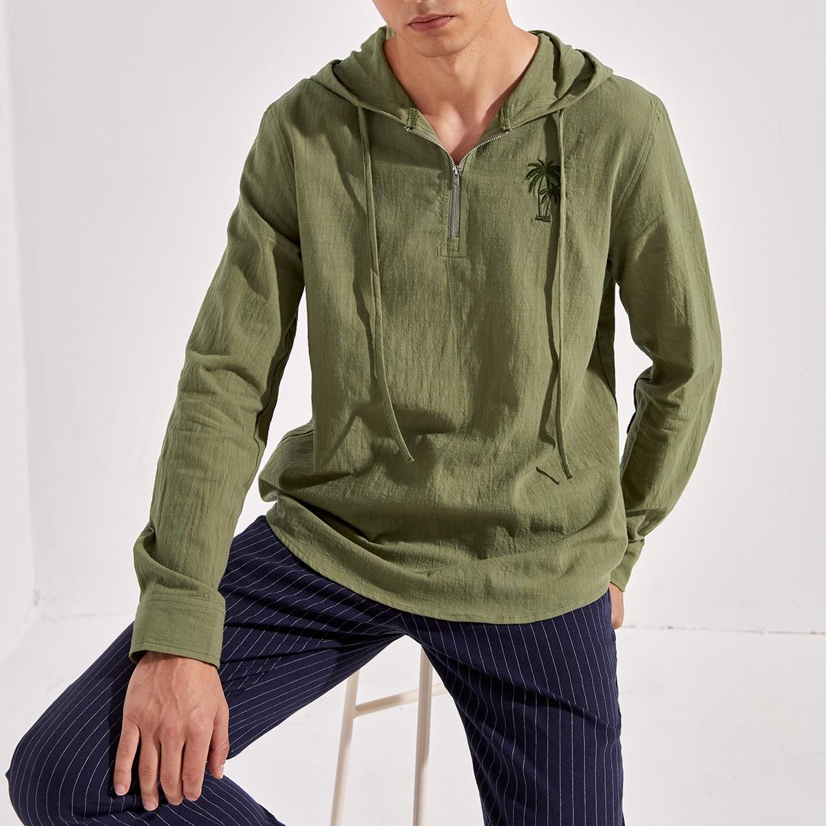 Мужская рубашка с вышивкой пальмового дерева