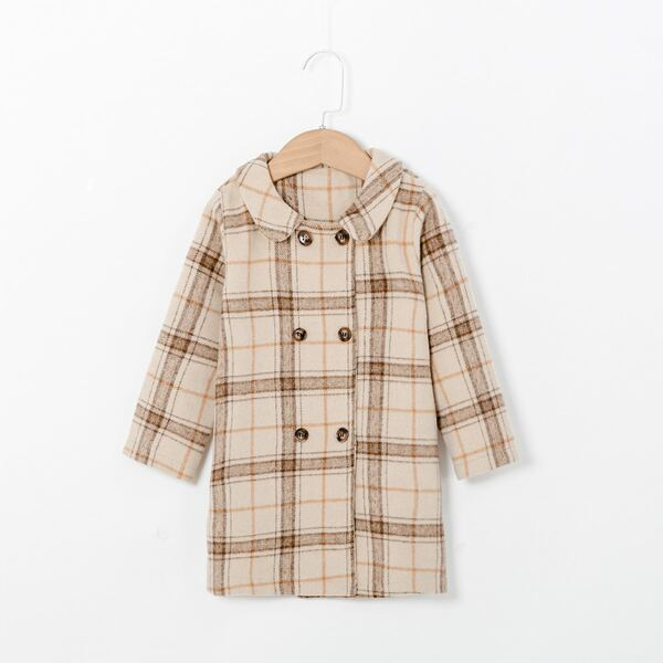 Toddler Girls Peter Pan Collar Plaid Print Double Breasted Overcoat, Khaki