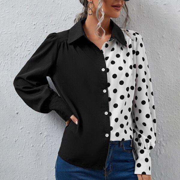 Polka Dot Spliced Blouse, Black and white