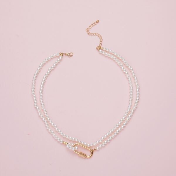Minimalist Faux Pearl Beaded Necklace, Multicolor