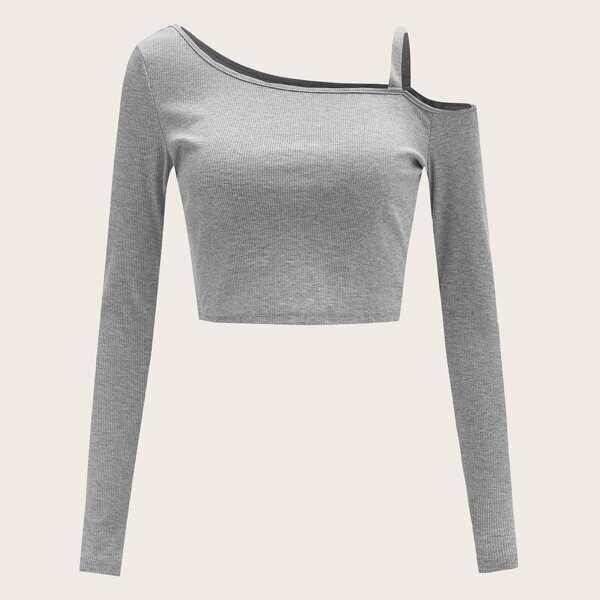 Asymmetrical Neck Cold Shoulder Rib-knit Top, Grey