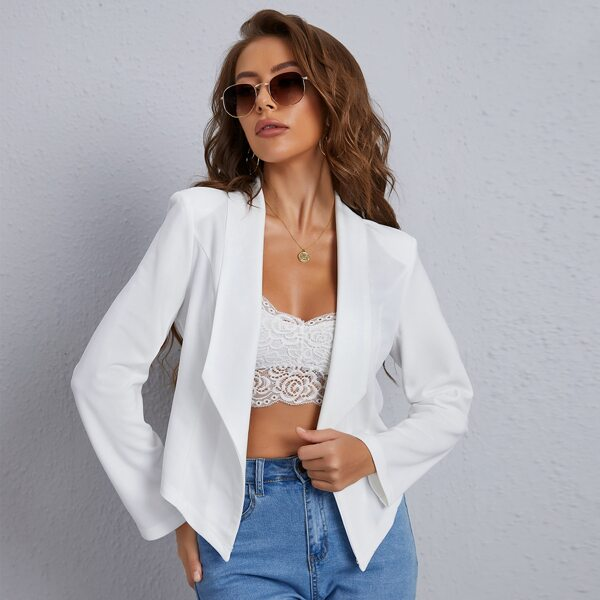 Solid Shawl Collar Slim Blazer, White