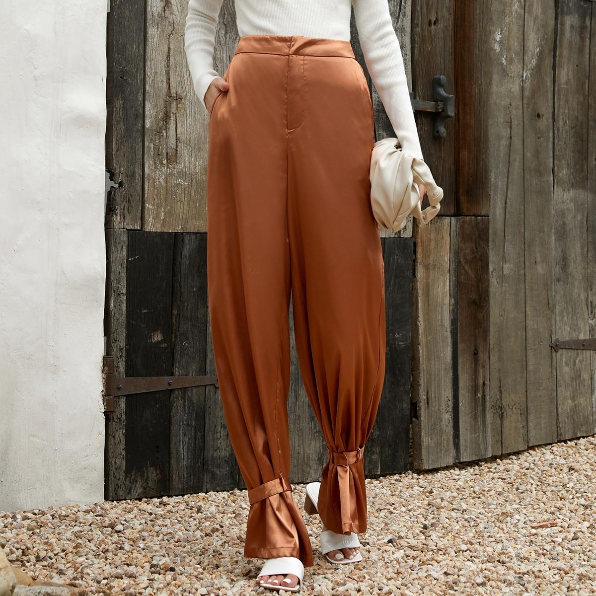 Slant Pocket Belted Hem High Waist Pants, SHEIN  - buy with discount