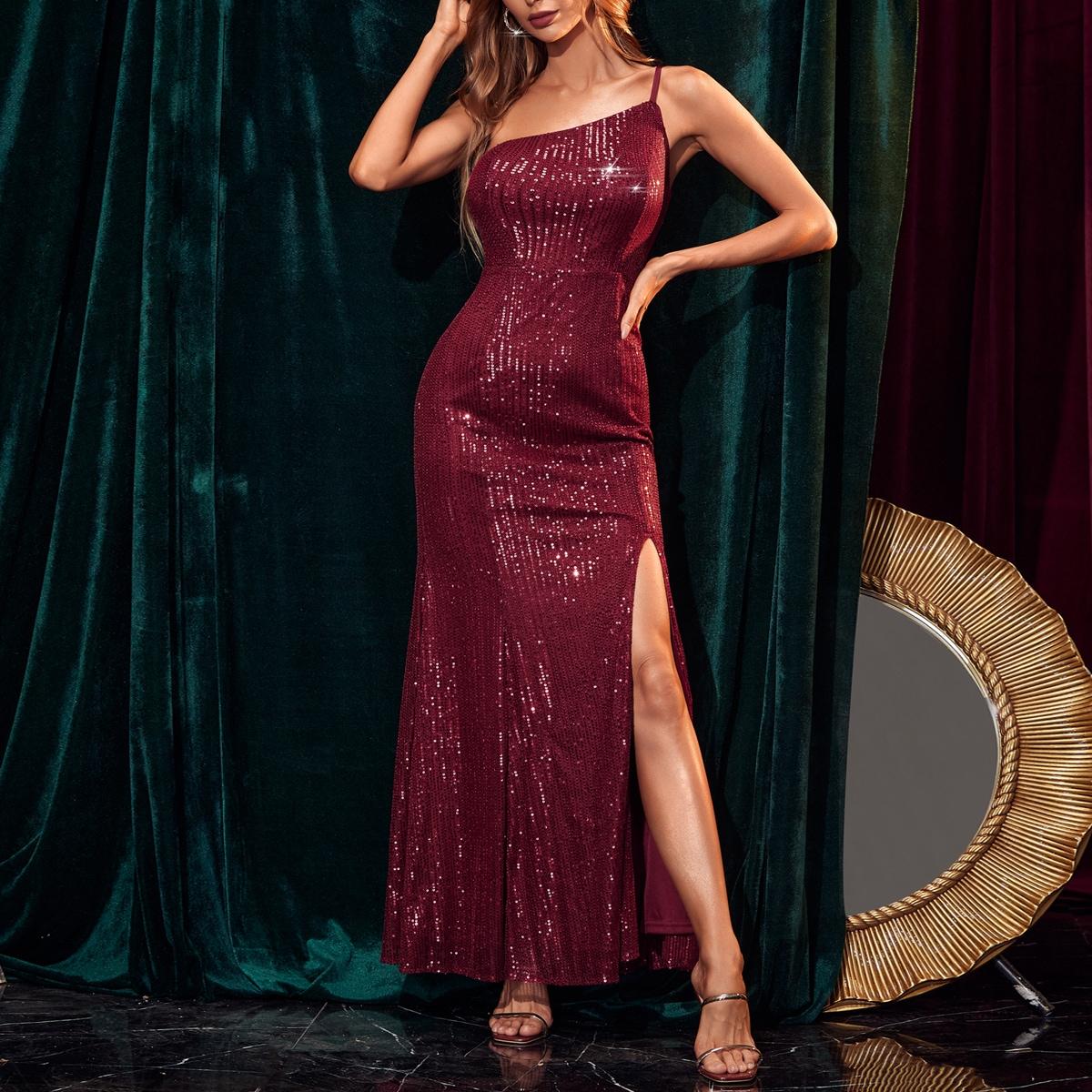 Split High One Shoulder Backless Sequin Dress