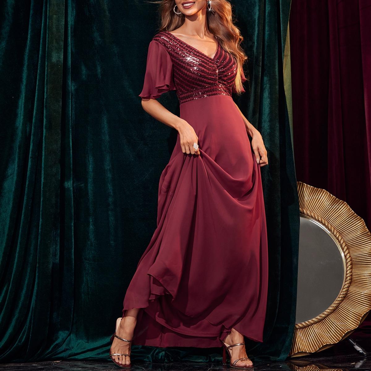 Flutter Sleeve Contrast Sequin Dress