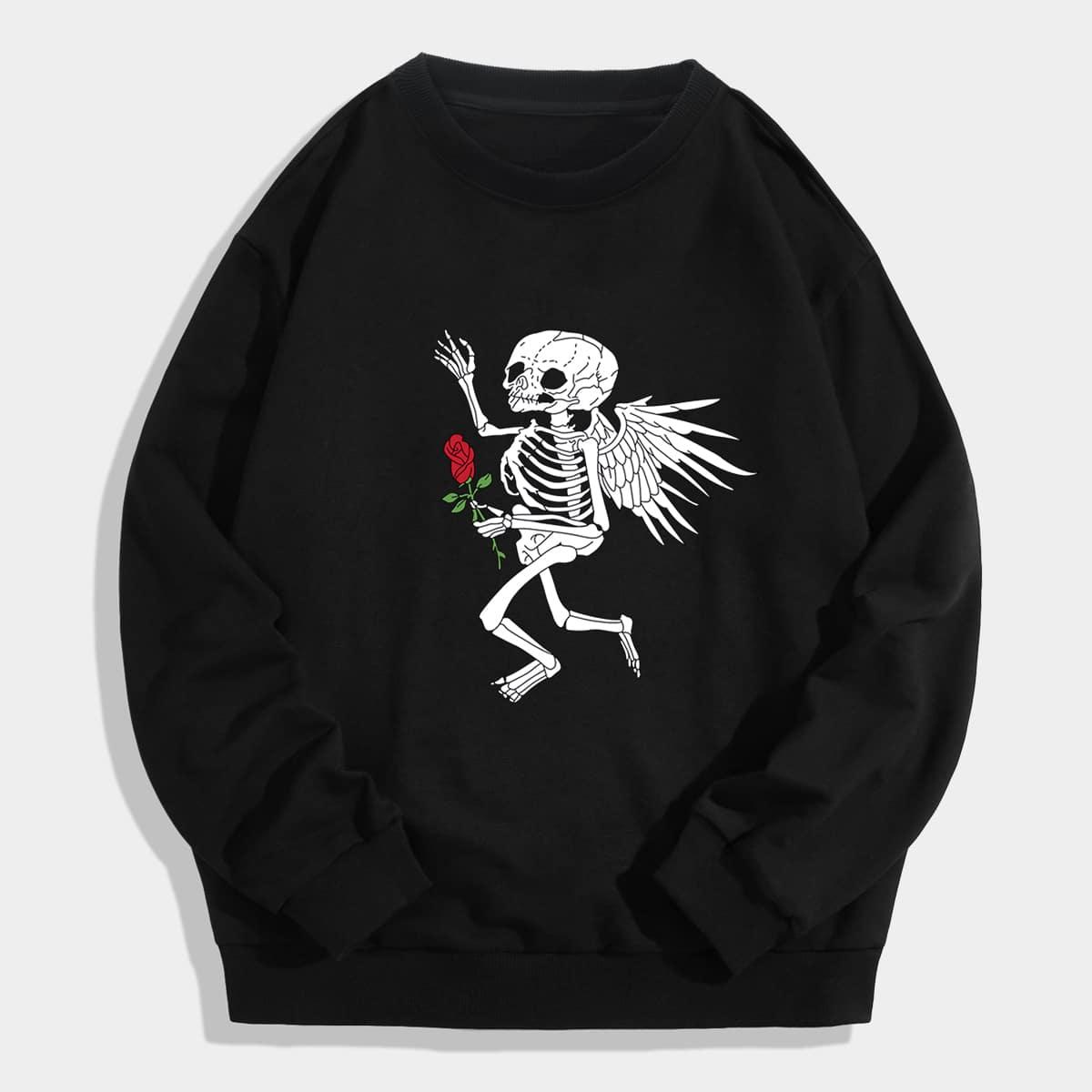 для мужчины Пуловер роза & с принтом скелета