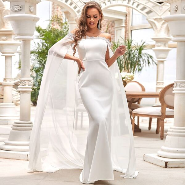 Off Shoulder Guipure Lace Trim Wedding Dress Without Veil, White