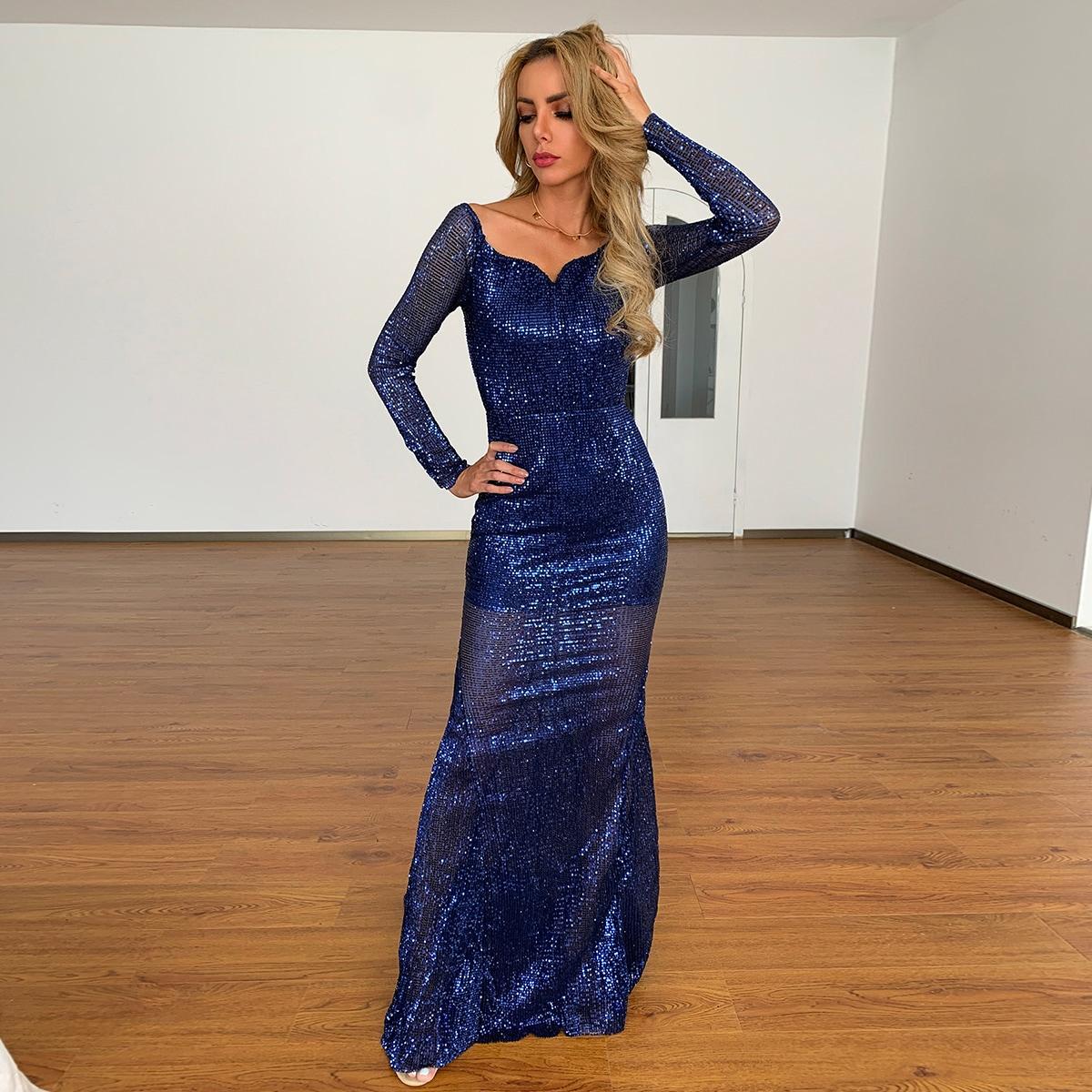 Платье с глубоким декольте блестящий SheIn sw2108093551164646