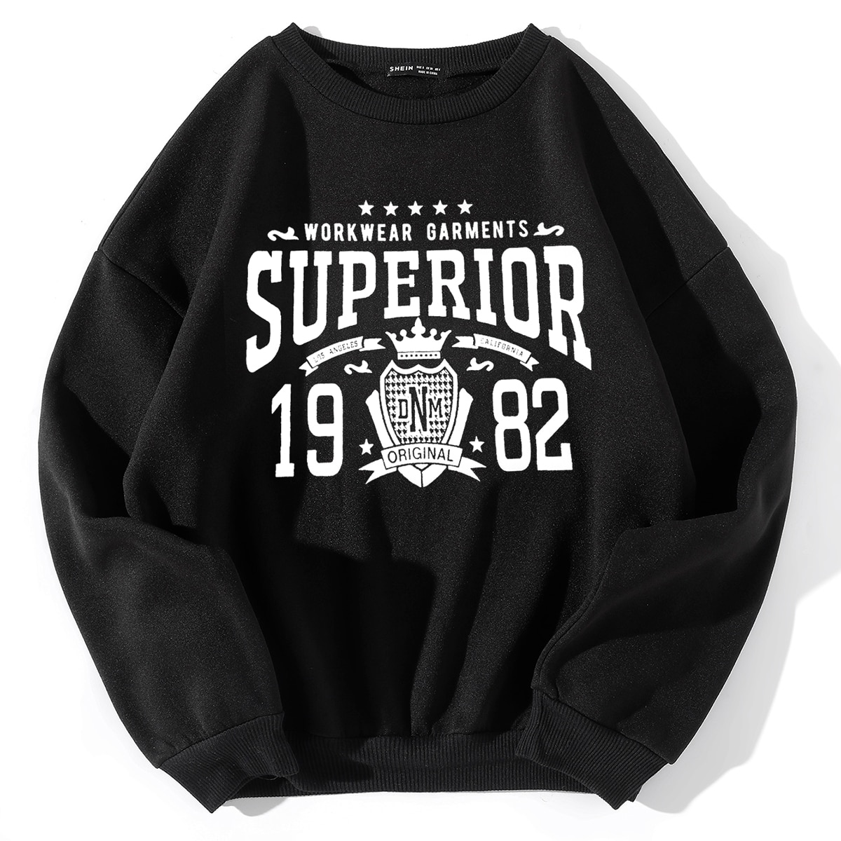 Badge & Letter Graphic Drop Shoulder Pullover, SHEIN  - buy with discount