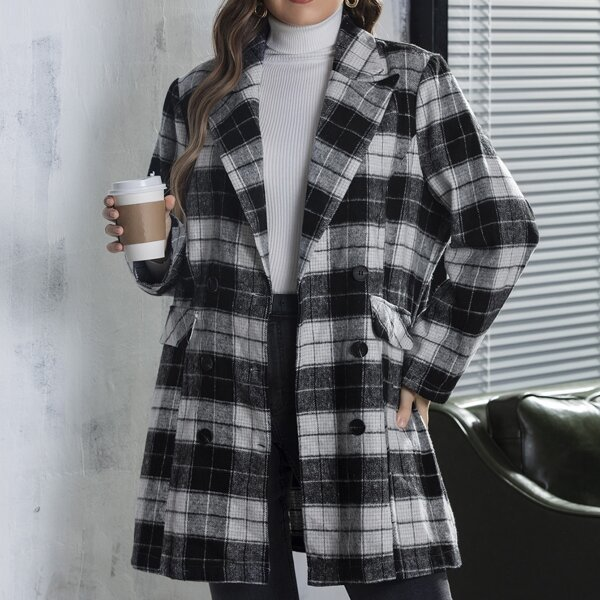 Plus Plaid Flap Detail Double Breasted Overcoat, Black and white