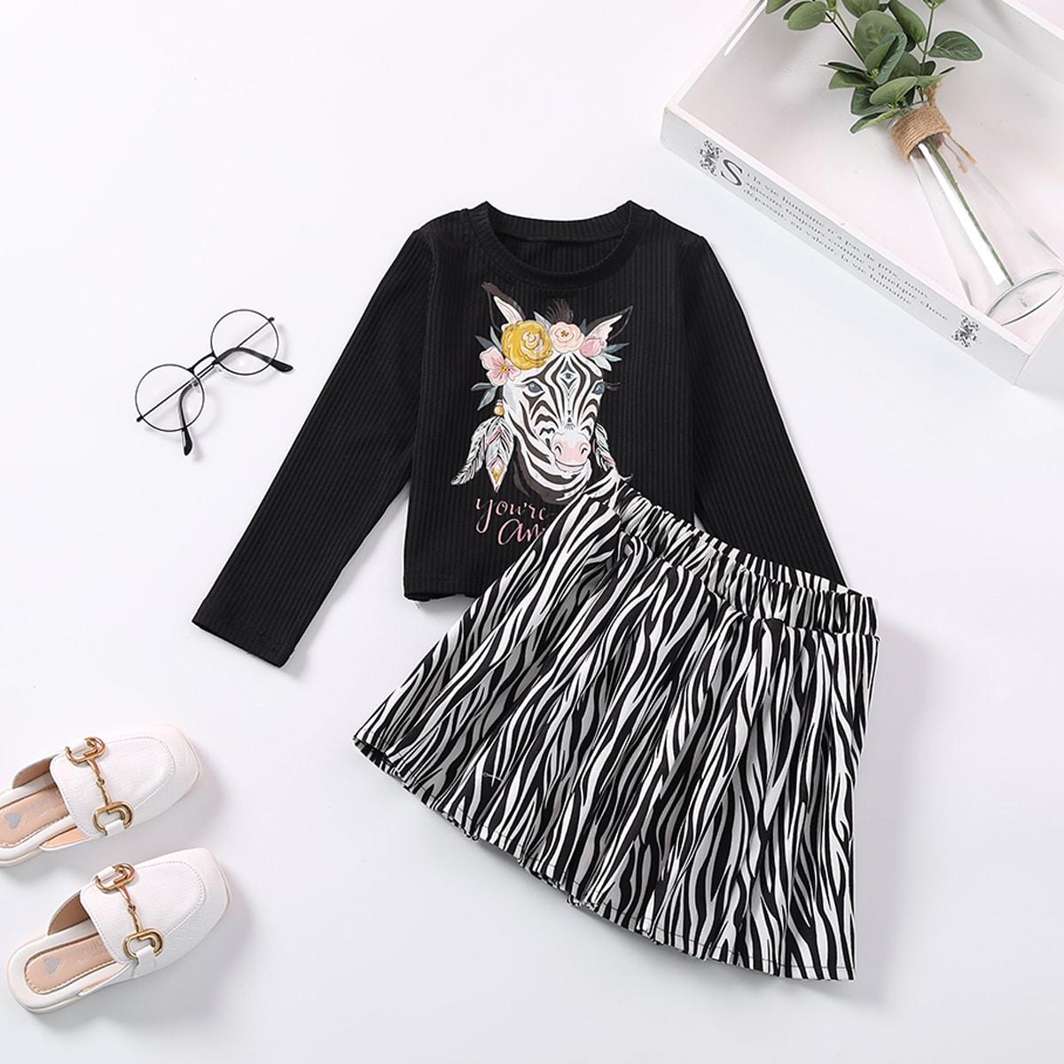 Toddler Girls Floral & Zebra Print Tee & Zebra Striped Skirt