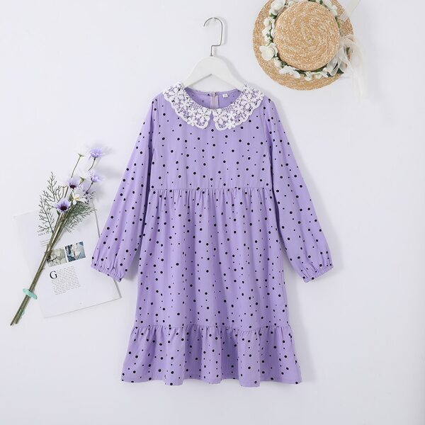 Girls Polka Dot Guipure Lace Peter-pan Collar Ruffle Hem Babydoll Dress, Purple