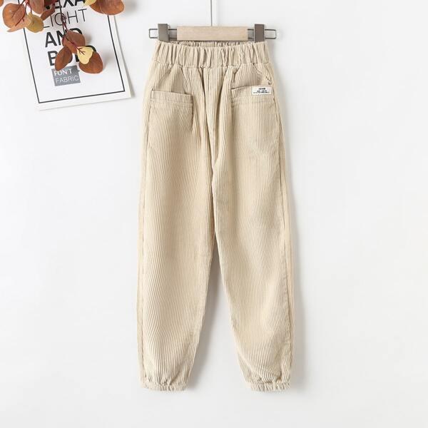 Girls Patched Detail Dual Pocket Corduroy Pants, Apricot