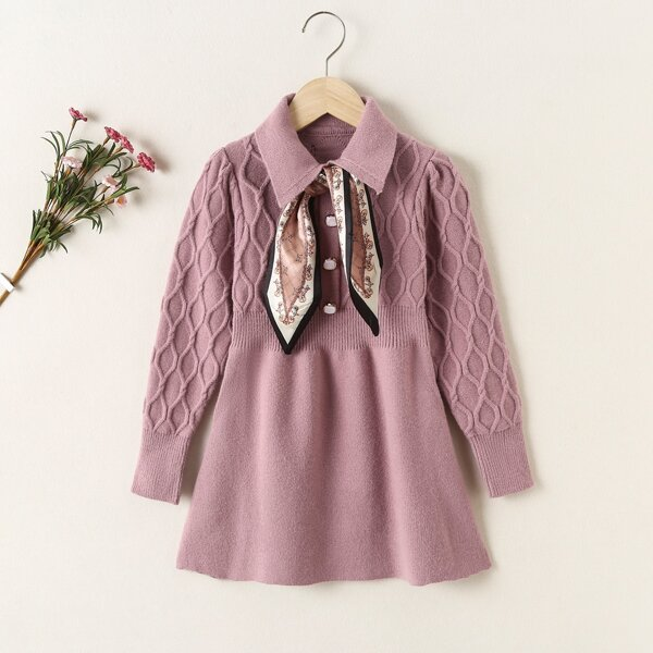 Girls Collared Cable Knit Sweater Dress With Tie, Dusty pink
