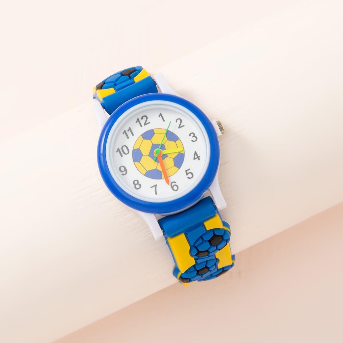 Детские кварцевые часы с узором футбола