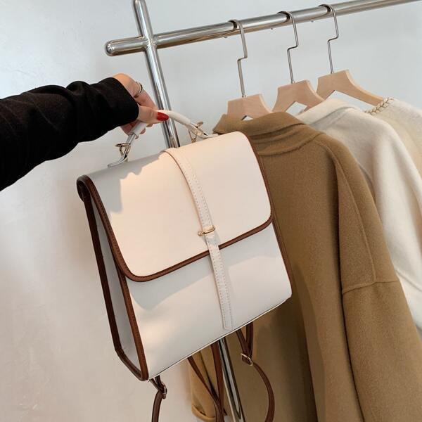 Two Tone Flap Backpack, White
