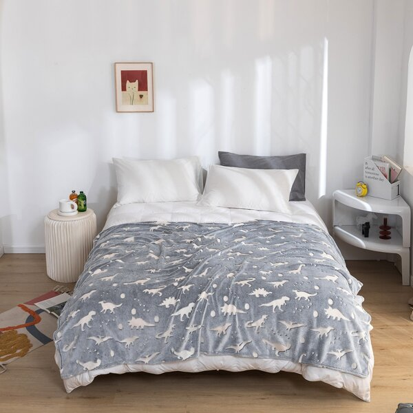 Dinosaur Pattern Glow in The Dark Blanket, Grey