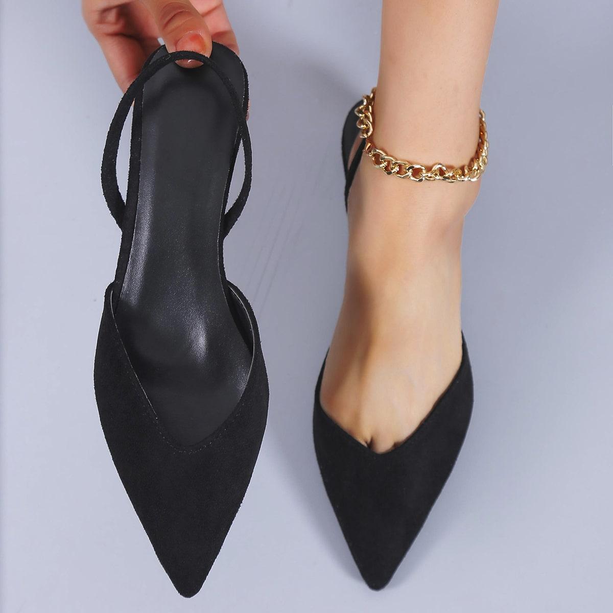 Остроконечные замшевые туфли на плоской подошве от SHEIN