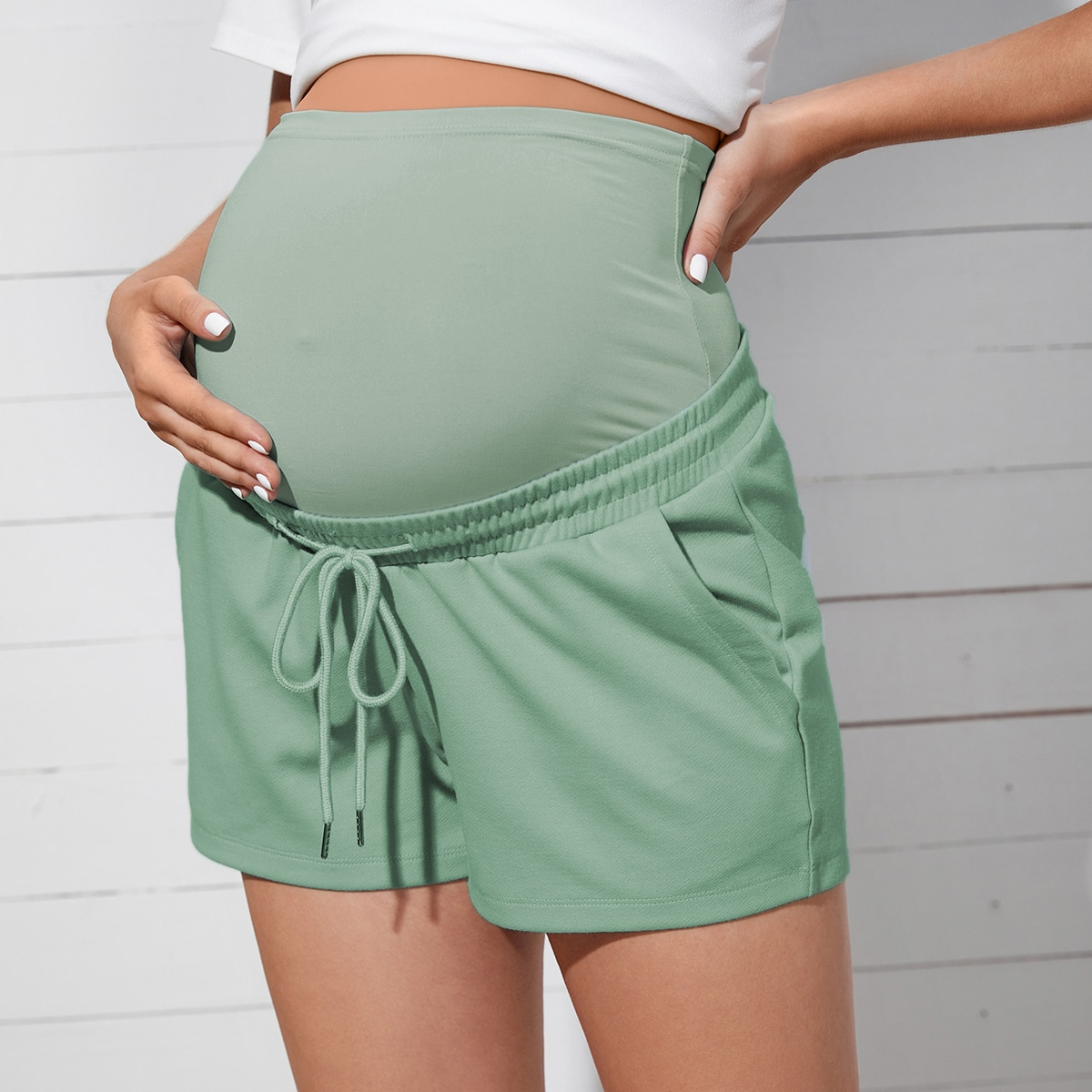 Maternity Drawstring Waist Shorts