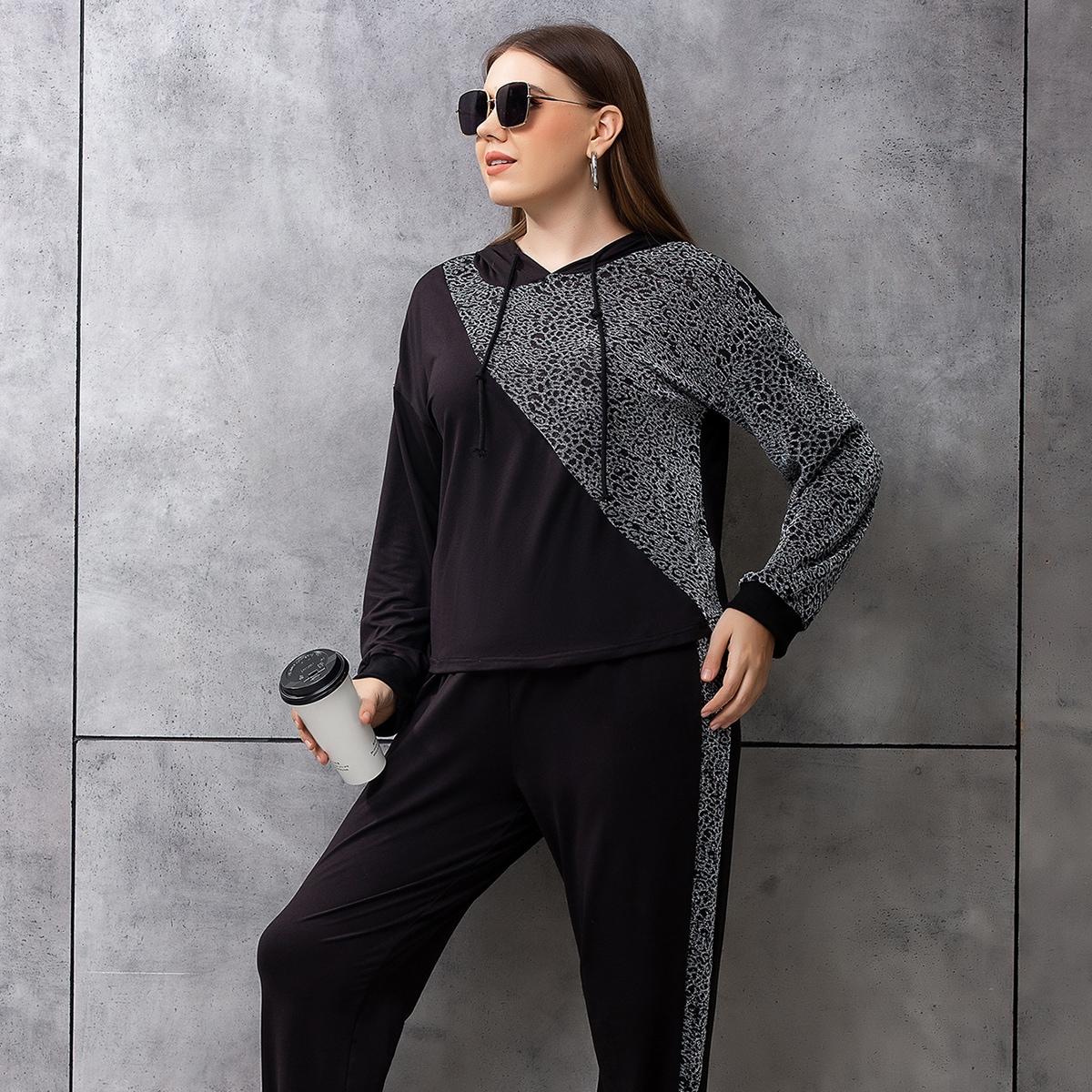 Plus Leopard Print Drop Shoulder Drawstring Hoodie & Sweatpants