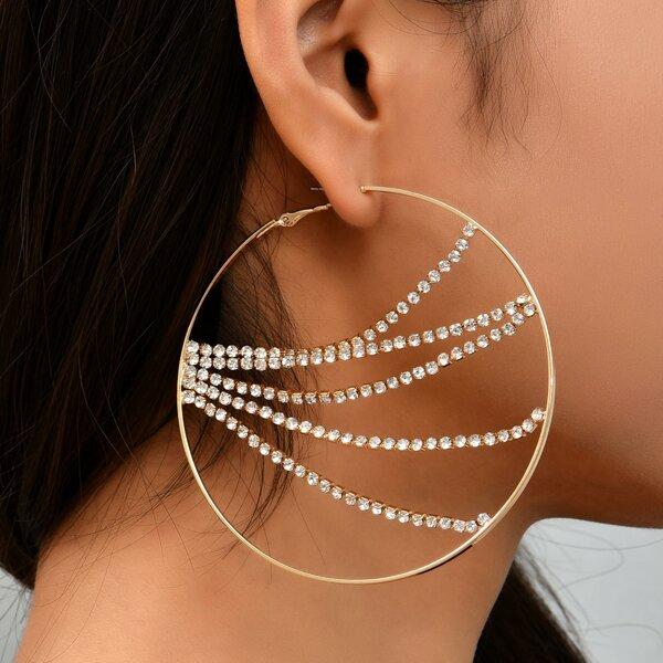 Rhinestone Decor Hoop Earrings, Gold