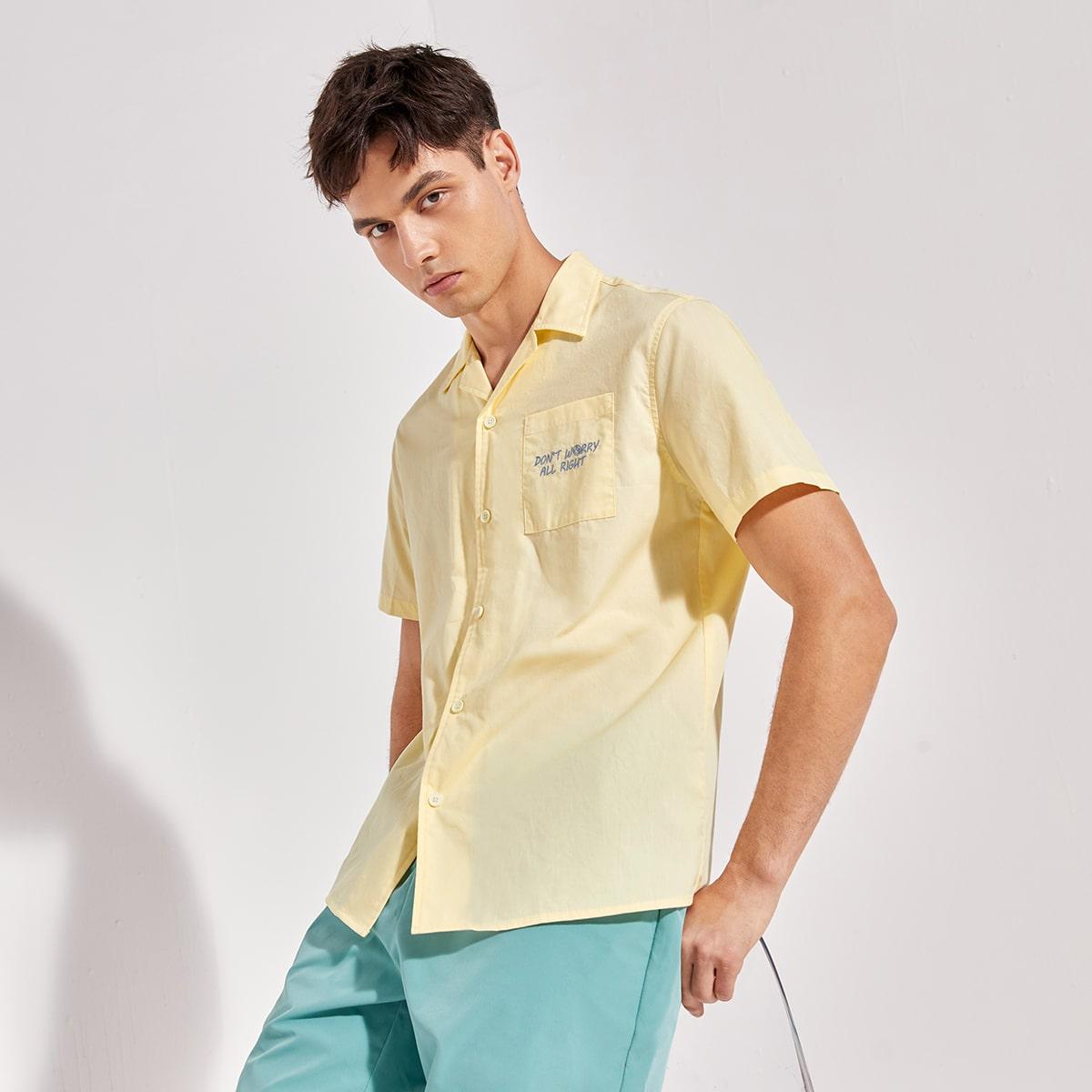 Мужской Рубашка с лацканами с текстовой вышивкой с краманом