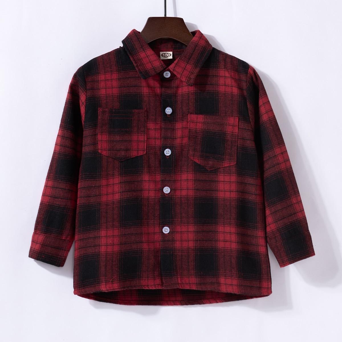 для мальчиков Рубашка крыло принтом с карманом в клетку