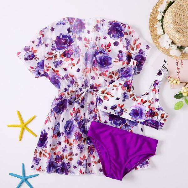 3pack Girls Floral Print Bikini Swimsuit & Kimono, Purple