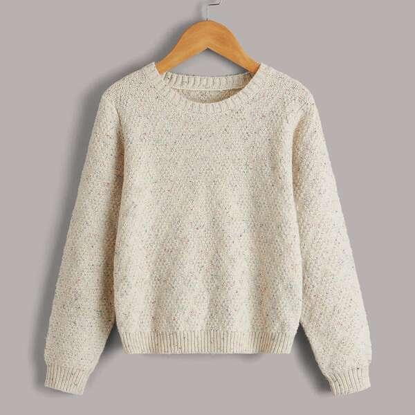 Girls Marled Knit Sweater, Beige
