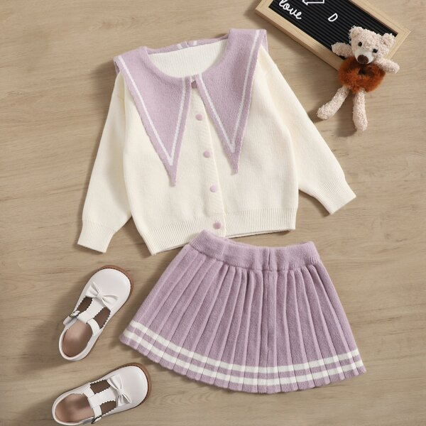Toddler Girls Sailor Collar Cardigan & Striped Trim Pleated Knit Skirt, Multicolor