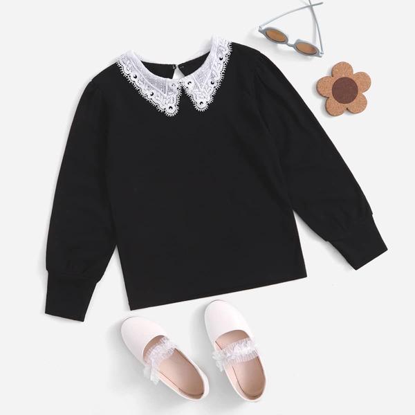 Girls Peter Pan Collar Keyhole Back Pullover, Black
