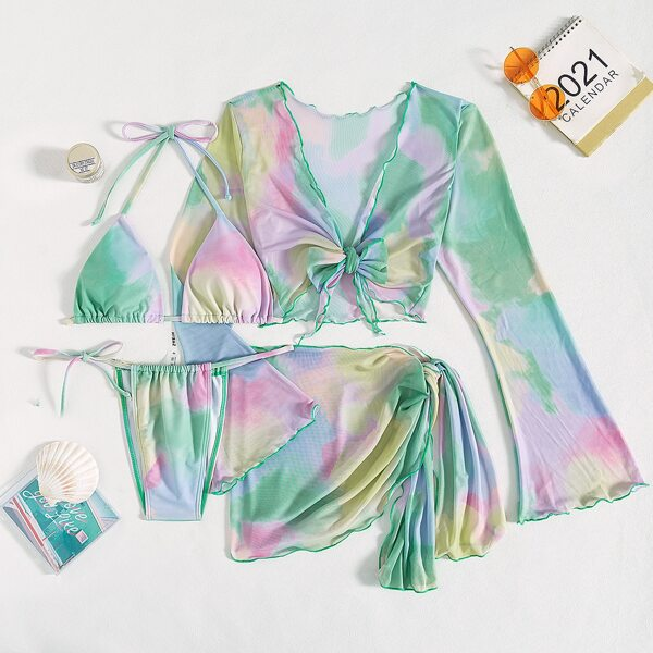4pcs Tie Dye Halter Triangle Bikini Swimsuit & Cover Up Top With Skirt Set, Multicolor