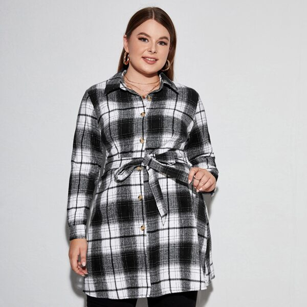 Plus Tartan Button Through Belted Coat, Black and white