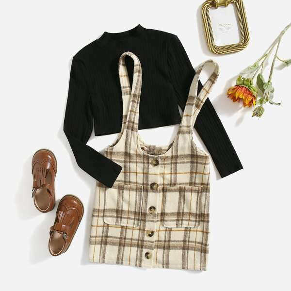 Girls Mock Neck Ribbed Knit Top & Plaid Patched Pocket Overall Dress, Multicolor