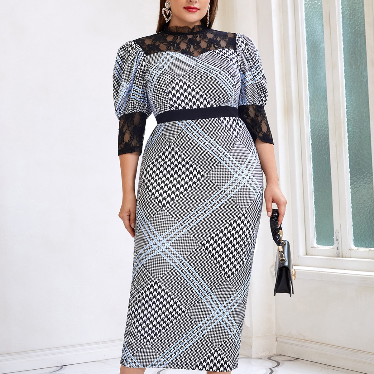 Plus Houndstooth Contrast Lace Panel Gigot Sleeve Dress, SHEIN  - buy with discount