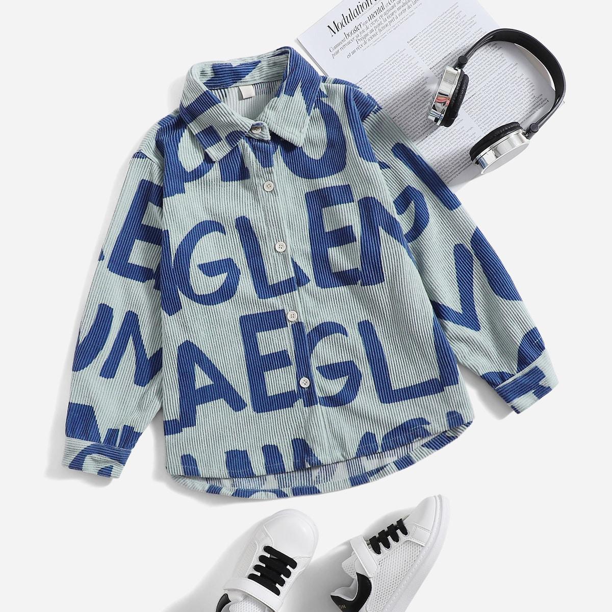 для мальчиков Рубашка с текстовым принтом на пуговицах