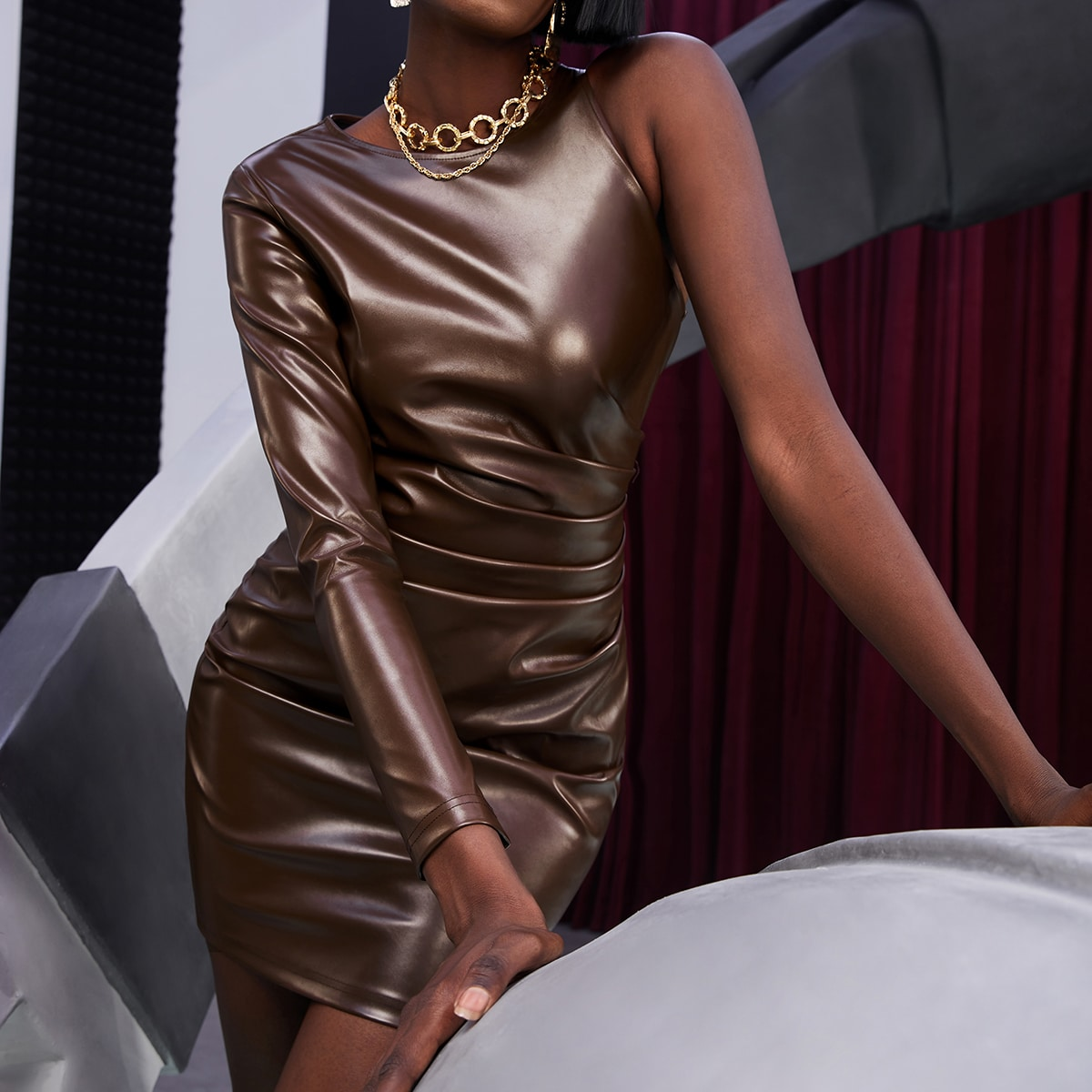 Ruched Side PU Leather Bodycon Dress
