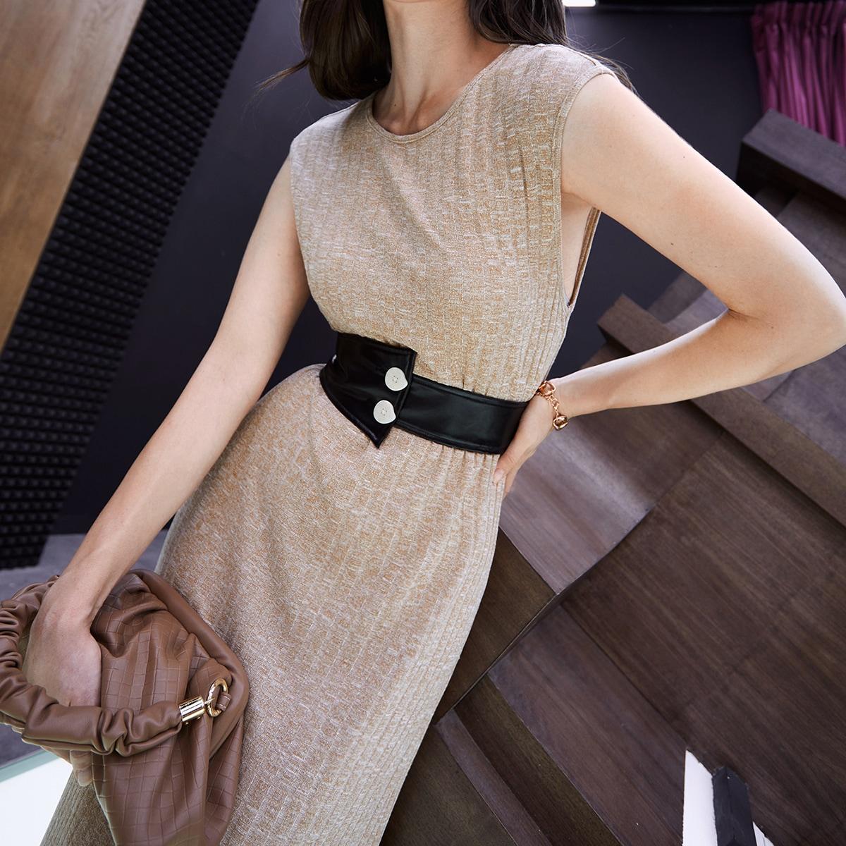 Sleeveless Button Detail Belted Dress