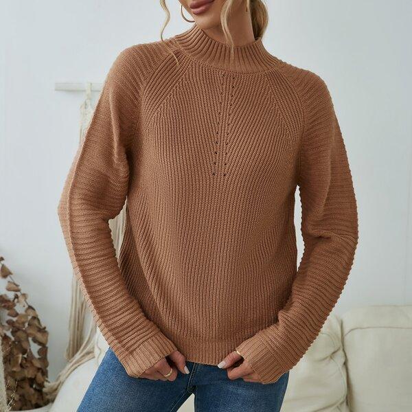 Solid Mock Neck Raglan Sleeve Sweater, Camel