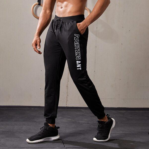 Men Letter Graphic Drawstring Waist Sport Pants, Black