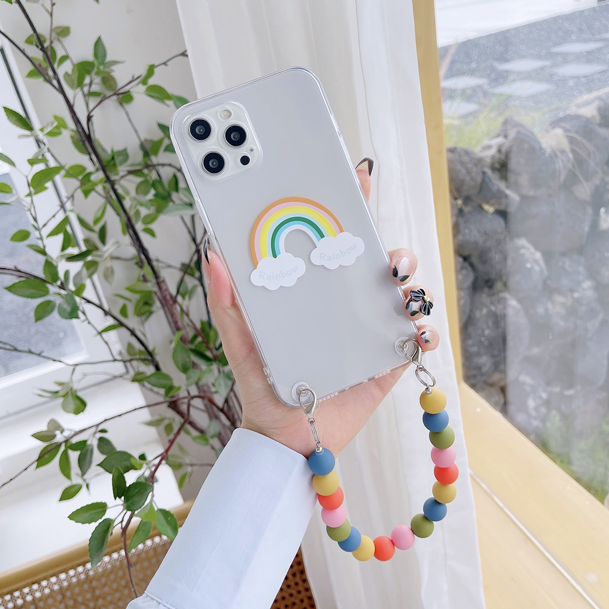 Rainbow Pattern Clear Phone Case With Beaded Hand Strap
