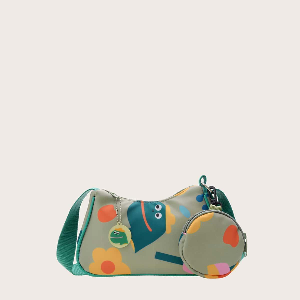 Детская сумка через плечо с мультипликационным узором и кошельком для монет SheIn sk2108098207897559