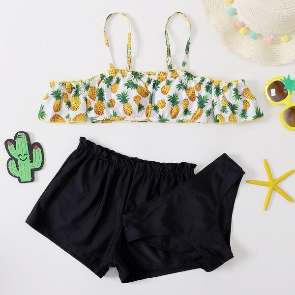 3pack Girls Pineapple Print Frill Trim Shorts Bikini Swimsuit, Black